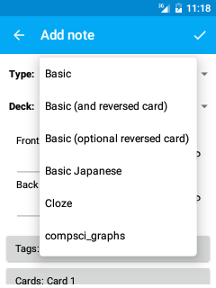 When Creating New Material In AnkiDroid You Should Choose One Of These Note Types Such As Basic And Reversed Card Which Will Automatically Generate A